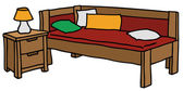 Bed with a bedside table — Stockvector