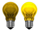 Yellow light bulbs, one glowing, another not — Stock Photo