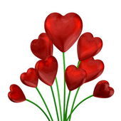 Bouquet of red shiny hearts — Stock Photo