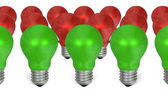 Row of green light bulbs in front of red ones — Zdjęcie stockowe