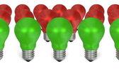 řádek zelené žárovky před ty červené — Stock fotografie