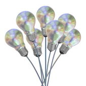 Bouquet of pearl light bulbs on iridescent wires — Stock Photo