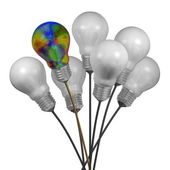 Bouquet of many white light bulbs and a multicolored iridescent one — Stock Photo