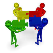 3d people with multicolor puzzle and missing piece — Stock Photo