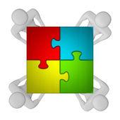 3d-mensen met geassembleerde multicolor puzzel bovenaanzicht — Stockfoto
