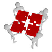 3d people assembling red puzzle — Stock Photo