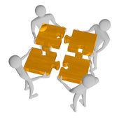 Puzzle 3d persone montaggio d'oro — Foto Stock
