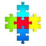 3d multicolor puzzle forming plus symbol — Stock Photo #49082481