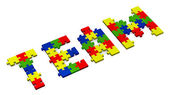 3d team text assembled of puzzles, perspective — Stock Photo