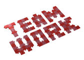 3d teamwork text assembled of puzzles, perspective — Stock Photo