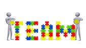 Dva 3d lidí, kompletace tým text vícebarevná puzzle kousky — Stock fotografie