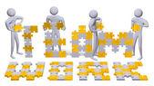 3D lidí, kompletace týmové text hádanky — Stock fotografie