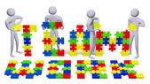 3d lidí, kompletace týmové text vícebarevná hádanek — Stock fotografie