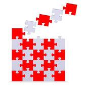 Duże puzzle 3d z latania brakujących elementów — Zdjęcie stockowe