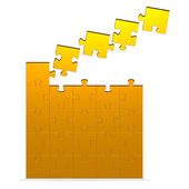 Big 3d puzzle with flying missing pieces — Stock Photo