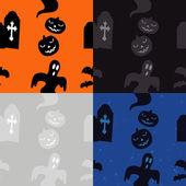 Padrão de Halloween: sepulturas e abóboras — Vetor de Stock