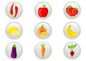 Fruit and Vegetables Icon Set — Stock Vector
