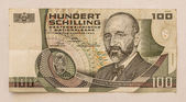 Old Austrian Banknote 100 Schilling 1984 — Stock Photo