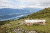 Bench on Alp Millstatt View Into The Valley And Lake Millstatt — Stock Photo