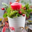 Fall Wreath with Candle — Stock Photo