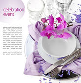Festive Table Setting with Orchid — Stock Photo