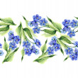 Forget-me-not Flowers Seamless Garland  — Stock Photo