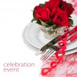 Place Setting with Red Roses  — Stock Photo