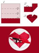 Heart Napkin Folding — Stock Photo