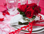 Place Setting with Roses — Stock Photo