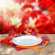 Empty Plate with Fall Background — Stock Photo