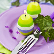 Easter Place Setting with Candles — Stok fotoğraf #34042983
