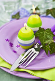 Easter Place Setting with Candles — Stock fotografie