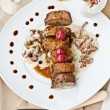 Roe Deer Back with Chanterelles Sauce — Stock Photo