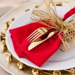 Christmas Place Setting with Bells — Стоковое фото