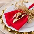 Christmas Place Setting with Bells — Zdjęcie stockowe