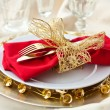 Christmas Place Setting with Bells — Zdjęcie stockowe