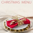 Foto de Stock  : Christmas Place Setting with Bells