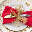 Christmas Place Setting with Bells — ストック写真