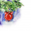 Watercolor Red Christmas Ball — Stock Photo