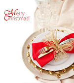 Christmas Place Setting with Bells — Stock Photo