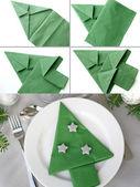 Christmas tree napkin folding — Stock Photo