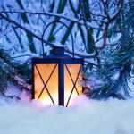 Christmas Lantern in Snow — Stock Photo #34220309