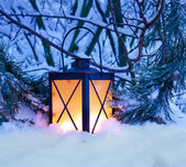 Christmas Lantern in Snow — Stock Photo