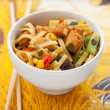 Noodles with chicken and vegetables — Stock Photo