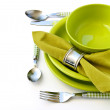 Place setting in green tones — Stock Photo