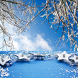 Table with winter decoration — Stock Photo