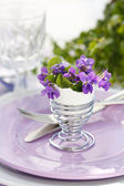 Table Decoration with Viola Flowers — Stock Photo