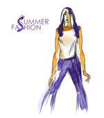Disegnati a mano moda modello — Foto Stock