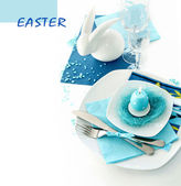 Table setting in turquoise color — Foto Stock