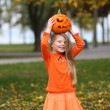 Beautiful Five Year Old Girl With Pumpkin — Stock Photo